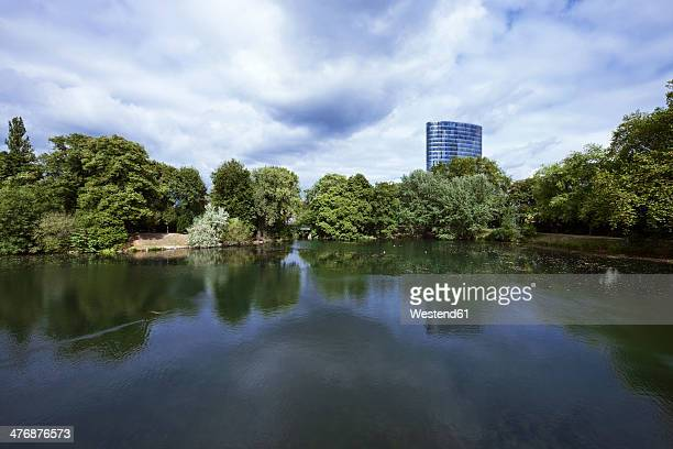 Germany, North Rhine-Westphalia, Dusseldorf, Volksgarten with GAP15 in background