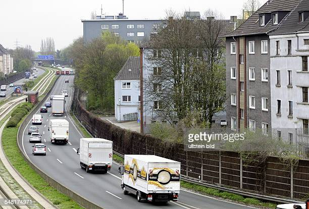 Germany North Rhine-Westphalia Essen - The highway A40 leading through residential areas in Essen.