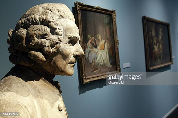 Germany North RhineWestphalia Koeln Cologne WallrafRichartzMuseum plaster bust of JeanJacques Rousseau by french sculptor JeanAntoine Houdon