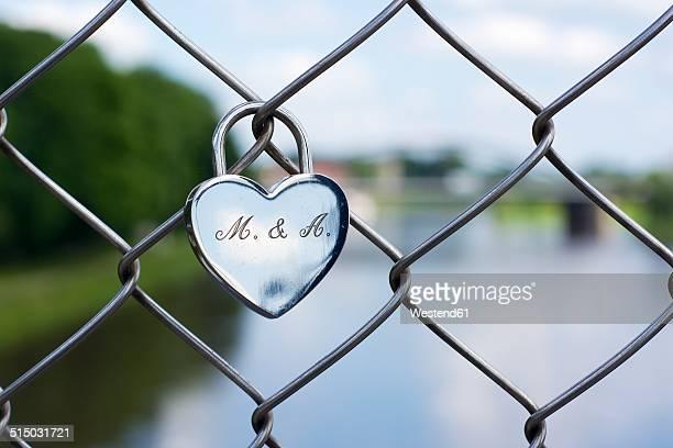 Germany, North Rhine-Westphalia, Minden, Love lock on Glacis bridge