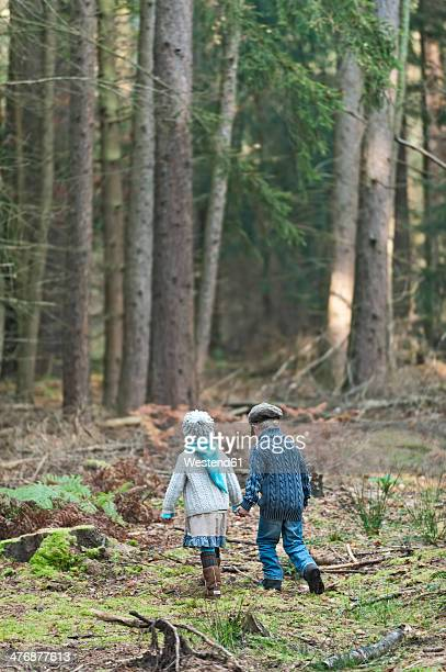 Germany, North Rhine-Westphalia, Moenchengladbach, Scene from fairy tale Hansel and Gretel, brother and sister in the woods