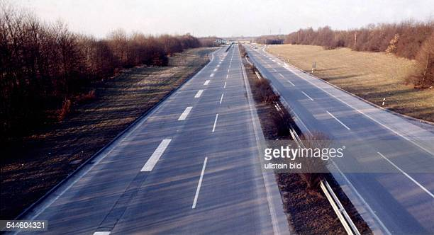 Germany North RhineWestphalia oil crisis Sunday traffic ban autobahn without any traffic as a reaction of the oil embargo by the OPEC countries the...