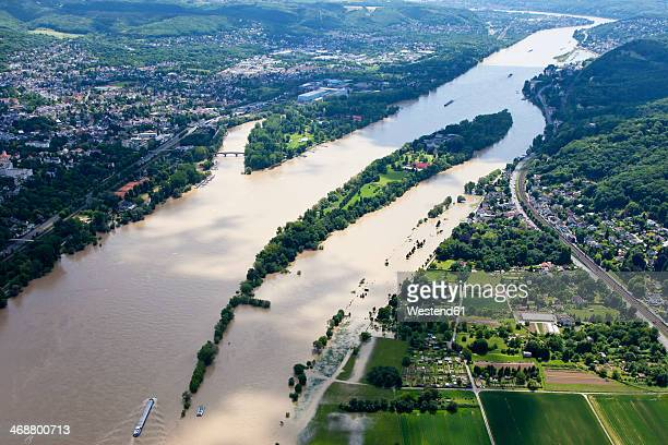 germany, north rhine-westphalia, river rhine at bad honnef, aerial photo - rhine river stock pictures, royalty-free photos & images
