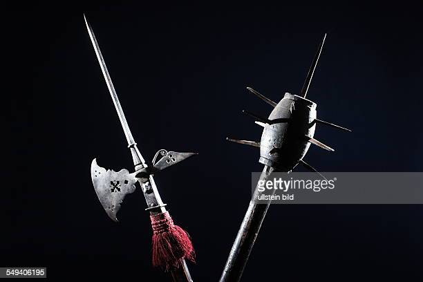 Germany, NRW, Muelheim: Halberd and and flail from 1th 16th century at the museum in Schloss Broich