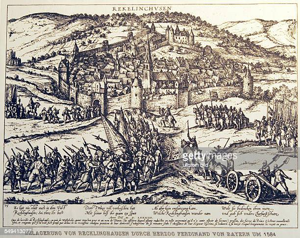 DEU Germany NRW Recklinghausen VESTISCHES MUSEUM A copperplate of Cologne War made by Wenzel Hollar in 1634