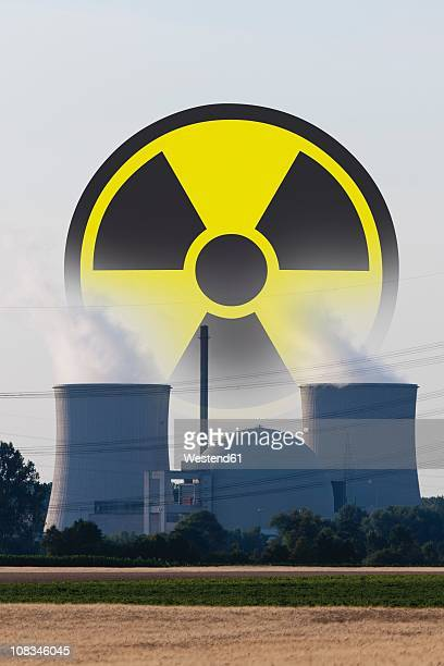 Germany, Nuclear power plant with radioactive warning symbol