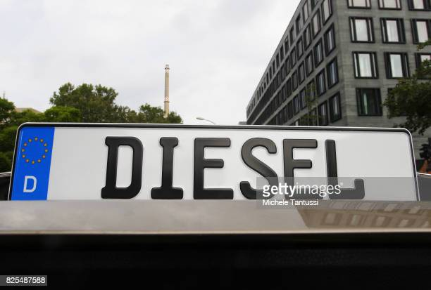 Germany number Plate reading DIESEL stands on a car ahead of the national diesel forum in the ministry of transport and digital infrastructure on...