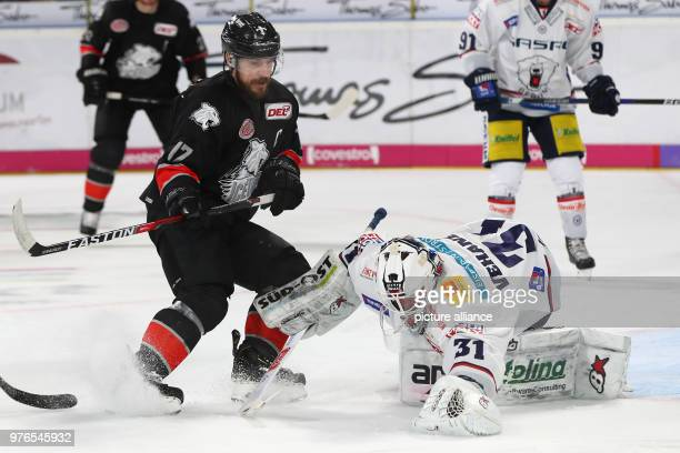 Germany Nuremberg Ice Hockey DEL Nuremberg Ice Tigers bs Eisbaeren Berlin at the Arena Nuernberger Versicherung Berlin's Petri Vehanen stops the puck...