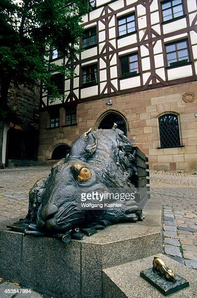 Germany Nuremberg Square At Tiergartnertor Rabbit Statue By Albrecht Durer