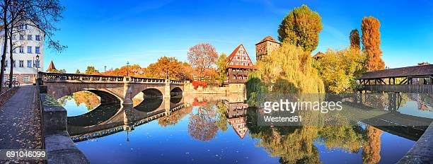 Germany, Nuremberg, view to Max bridge, Weinstadel, Water tower and Pegnitz river