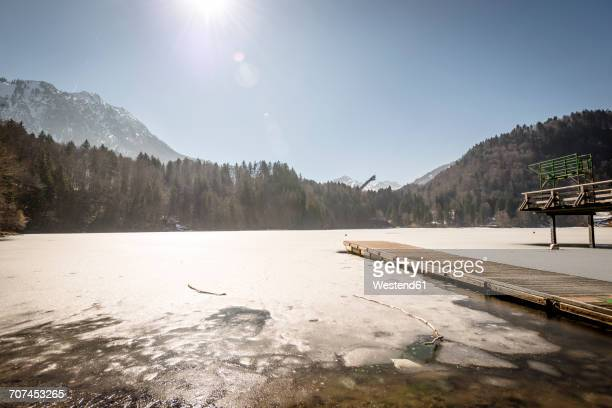 germany, oberstdorf, frozen freibergsee - upper bavaria stock photos and pictures