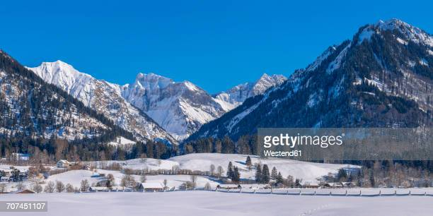 Germany, Oberstdorf, Lorettowiesen, mountainscape in winter