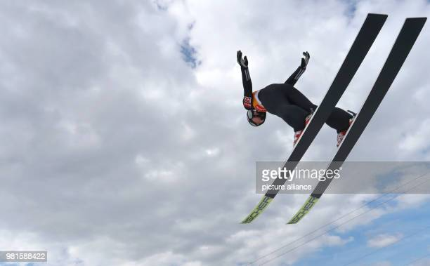 Weltcup 25 March 2018 World Cup Ski Jumping Women Maren Lundby from Norway on her first jump Photo KarlJosef Hildenbrand/dpa