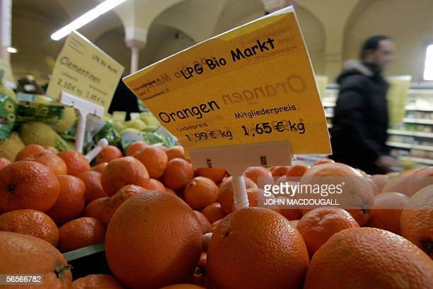 Organic oranges on sale at Berlin's LPG Bio Markt supermarket Europe's largest supermarket for organic and natural food 10 January 2006 A recent...