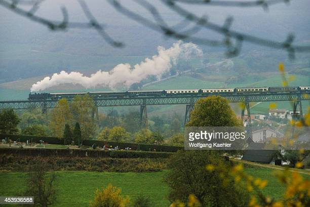 Germany Orient Express Train Going Over Bridge In The Black Forest