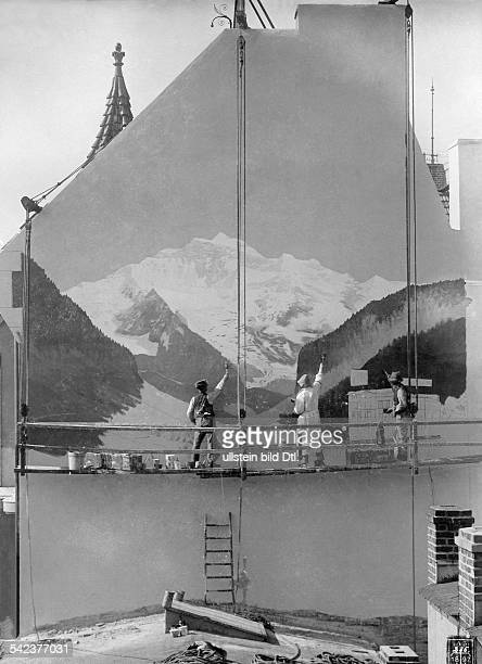 Germany Painter during work on a exterior wall of a house 1897 Photographer Waldemar Titzenthaler