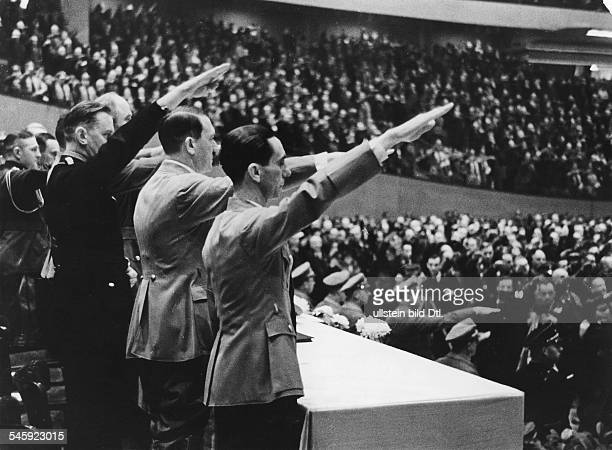 Germany Parades and Rallies in the Third Reich Official inauguration of the 'Deutschlandhalle' in Berlin from the right Joseph Goebbels Adolf Hitler...