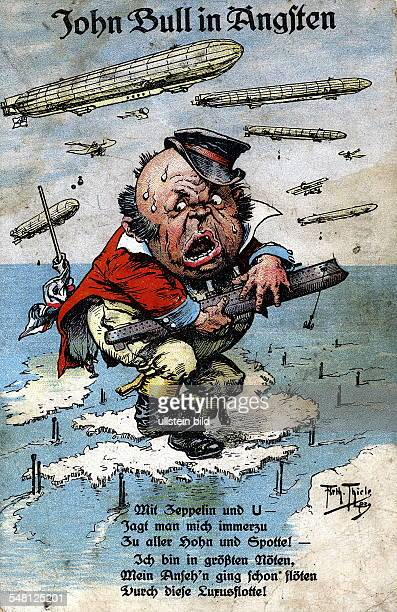 Patriotic postcards from WW I Airships and submarines surrounding Great Britain under the caption 'John Bull in Fear' 1915 Photographer ullstein...