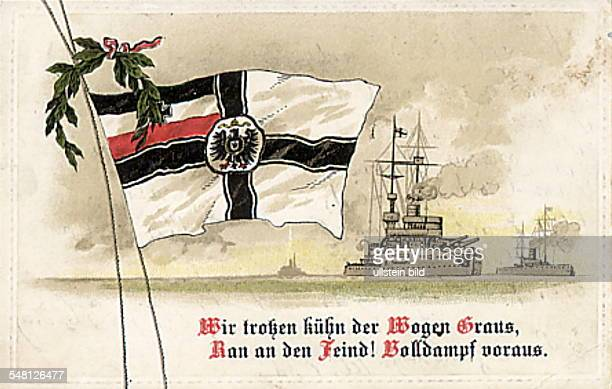 Patriotic postcards from WW I Postcard depicting a warship the Imperial navy flag with laurel branch on the bottom a slogan 191418 Photographer...