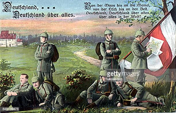 Patriotic postcards from WW I Postcard depicting German soldiers with flag in the field under the words of the German national anthem 1914/1915...