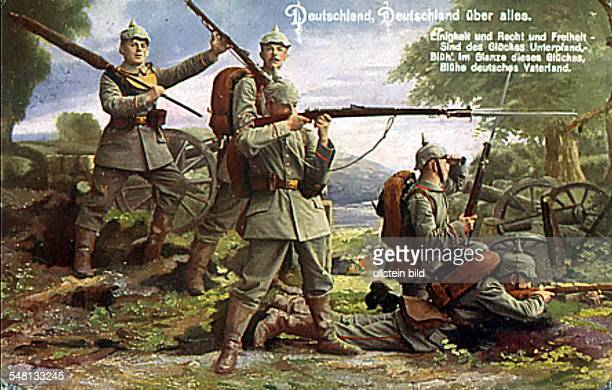 Patriotic postcards from WW I Postcard reading the words of the German national anthem depiction of shooting German infantrymen 1914/15 Photographer...