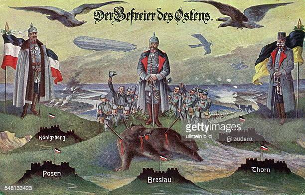 Patriotic postcards from WW I Postcard with the inscription 'The Liberator of the East' depicting Kaiser Wilhelm Hindenburg and Kaiser Franz Joseph...