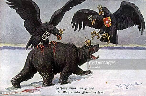 Patriotic postcards from WW I The German and the AustroHungarian Reichsadler attacking the Russian Bear 1915/1916 Photographer ullstein Heinrich