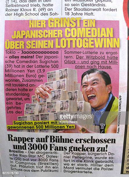 BERLIN Germany Photo shows the July 11 edition of the German tabloid Bild which erroneously reported that Japanese comedian Sugichan had won 500...