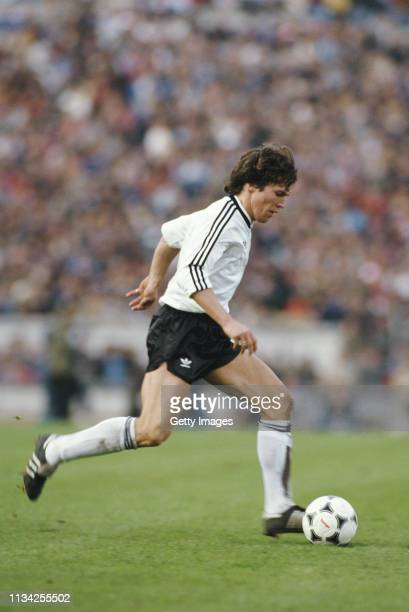 Germany player Lothar Matthaus in action during a World Cup Qualifier against Portugal in Lisbon on February 24, 1985 .