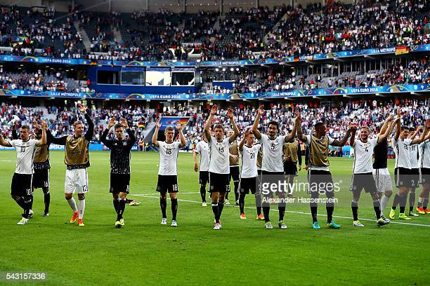 Germany players applaud their supporters after their 30 win in the UEFA EURO 2016 round of 16 match between Germany and Slovakia at Stade...
