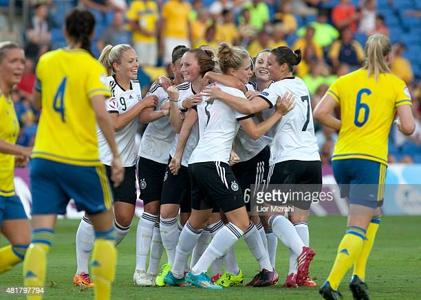 Germany players celabrate a goal during the UEFA Women's Under19 European Championship semi final between U19 Germany and U19 Sweden at Netanya...