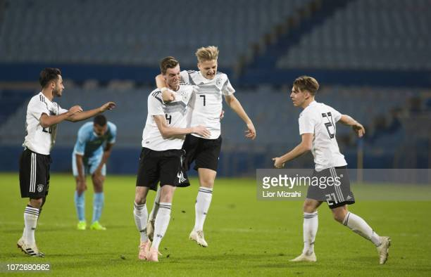 Germany players celebrate after scoring a goal during he final match with Israel at the Winter Tournament December 13 2018 in Ramat Gan Israel