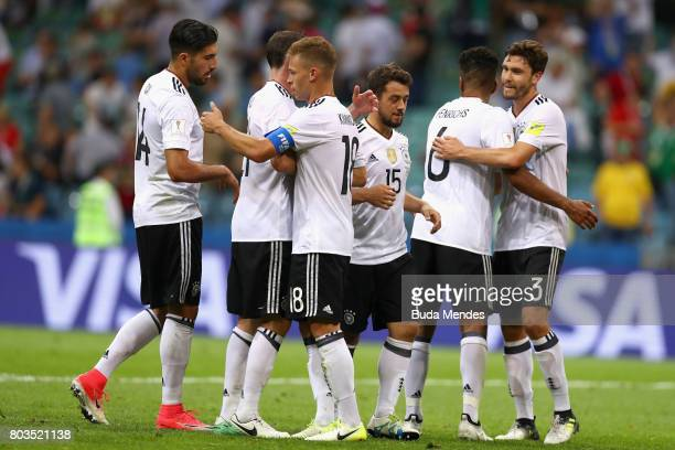 Germany players celebrate their 41 victory in the FIFA Confederations Cup Russia 2017 SemiFinal between Germany and Mexico at Fisht Olympic Stadium...