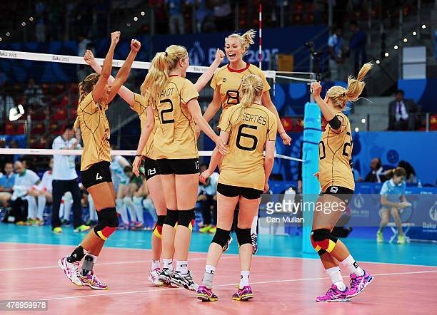 Germany players celebrate their team's victory in the Women's Volleyball Preliminary Round match against Bulgarisduring day one of the Baku 2015...