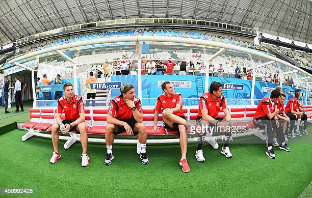 Germany players check the pitch priro to the 2014 FIFA World Cup Brazil Group G match between Germany and Ghana at Castelao on June 21 2014 in...