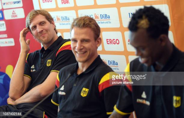 Germany players Dirk Nowitzki Heiko Schaffartzik and Dennis Schroeder at a press conference in Berlin Germany 3 September 2015 PHOTO RAINER...