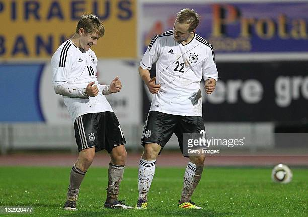 Germany players Lewis Holtby celebrates a goal against Cyprus during the Under21 Euro qualifier match between Germany and Cyprus at Paralimni Stadium...