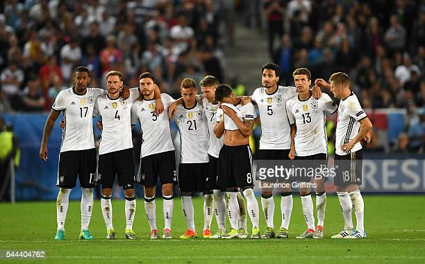 Germany players line up at the penalty shootout during the UEFA EURO 2016 quarter final match between Germany and Italy at Stade Matmut Atlantique on...