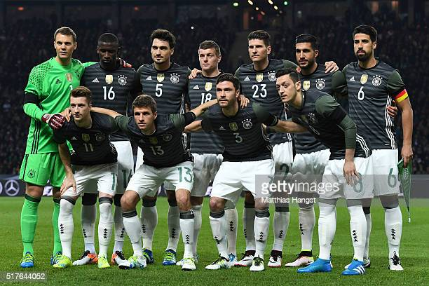 Germany players line up for the team photos prior to the International Friendly match between Germany and England at Olympiastadion on March 26 2016...