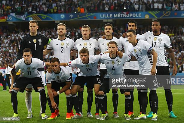 Germany players line up for the team photos prior to the UEFA EURO 2016 Group C match between Germany and Ukraine at Stade PierreMauroy on June 12...