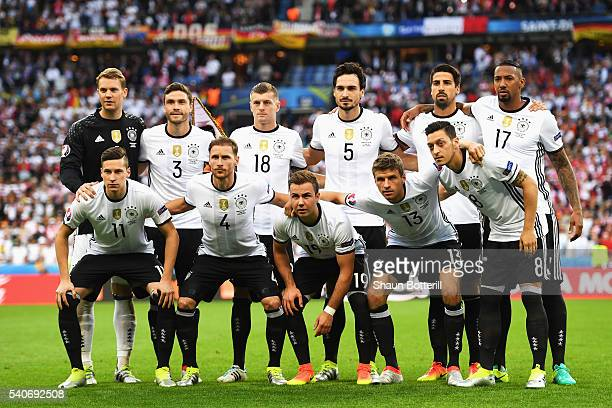 Germany players line up for the team photos prior to the UEFA EURO 2016 Group C match between Germany and Poland at Stade de France on June 16 2016...