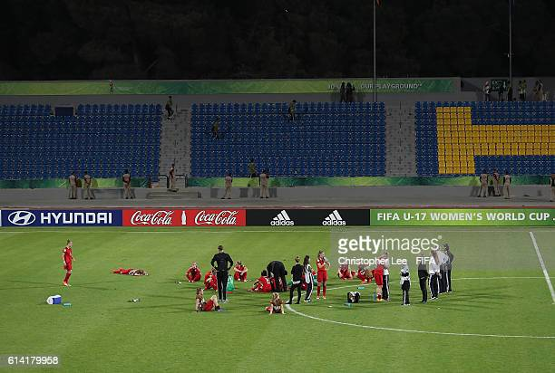 Germany players look dejected as they lose the match during the FIFA U17 Women's World Cup Jordan 2016 Quarter Final match between Germany and Spain...