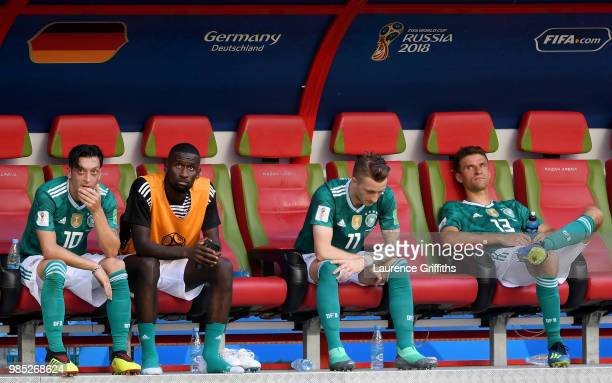 Germany players look dejected following their sides defeat in the 2018 FIFA World Cup Russia group F match between Korea Republic and Germany at...