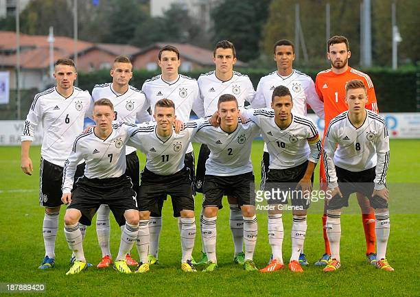 Germany players pose for a group photograph during a friendly match between U19 France and U19 Germany at the Didier Deschamps Stadium on November...