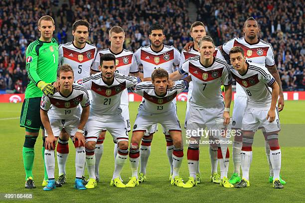 Germany players pose for a team group photo before the UEFA EURO 2016 Qualifying Group D match between Scotland and Germany at Hampden Park on...
