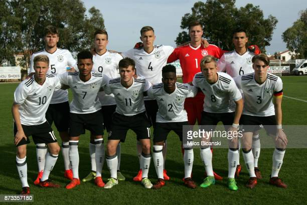 Germany players pose for a team photo during the U19 International Friendly between U19 Cyprus and U19 Germany at Anagennisi Dherynia Stadium on...