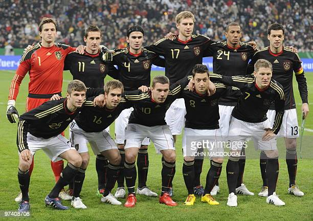 Germany players pose for a team photo prior to the friendly football match Germany vs Argentina in the southern German city of Munich on March 3 2010...