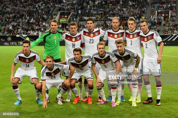 Germany players pose prior to the international friendly match between Germany and Argentina at EspritArena on September 3 2014 in Duesseldorf Germany
