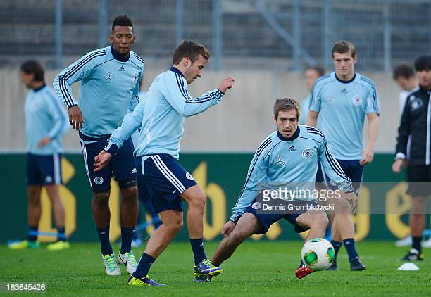 Germany players practice during a training session ahead of their FIFA 2014 World Cup Qualifier match against Republic of Ireland Ireland at Rudas...