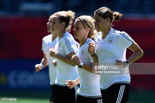 Germany players practice during a training session at Winnipeg Stadium on June 14 2015 in Winnipeg Canada
